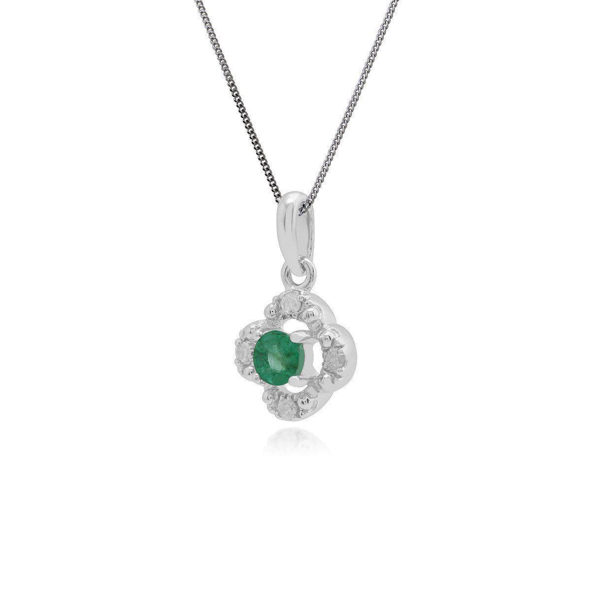 Gemondo Jewellery Emerald And Diamond Quatrefoil Pendant Necklace in Metallic