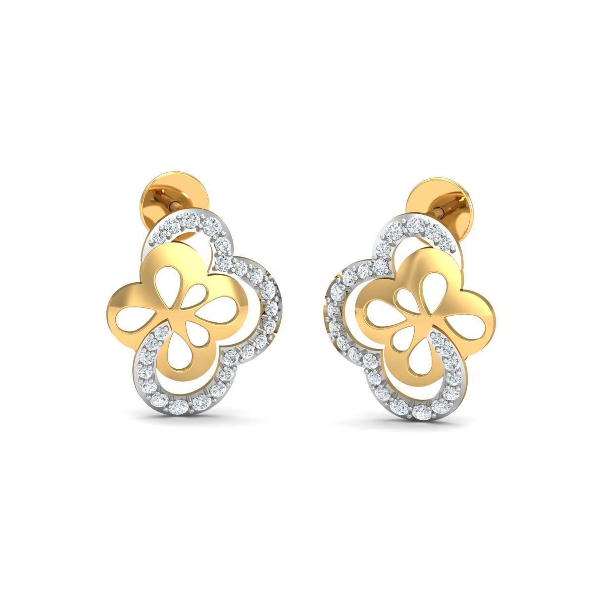 Diamoire Jewels 18kt Yellow Gold 0.30ct Pave Diamond Infinity Earrings eZjjW0ch