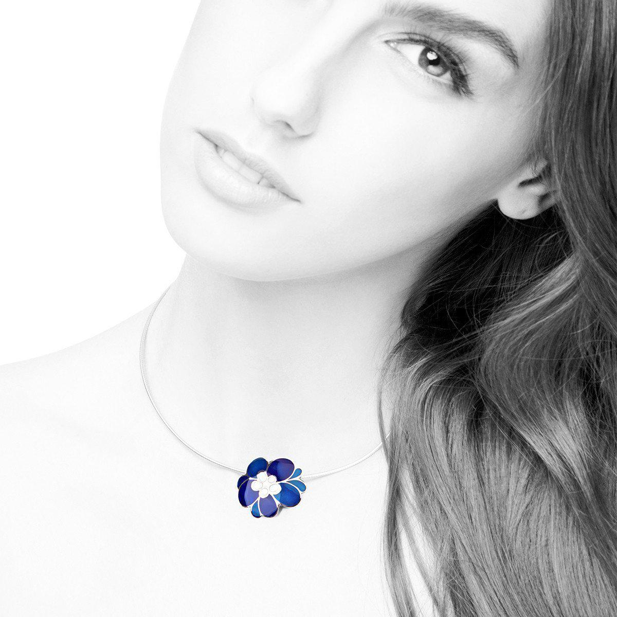 Diuss Fine Jewelry My Flower Medal Sky And Sea Blue