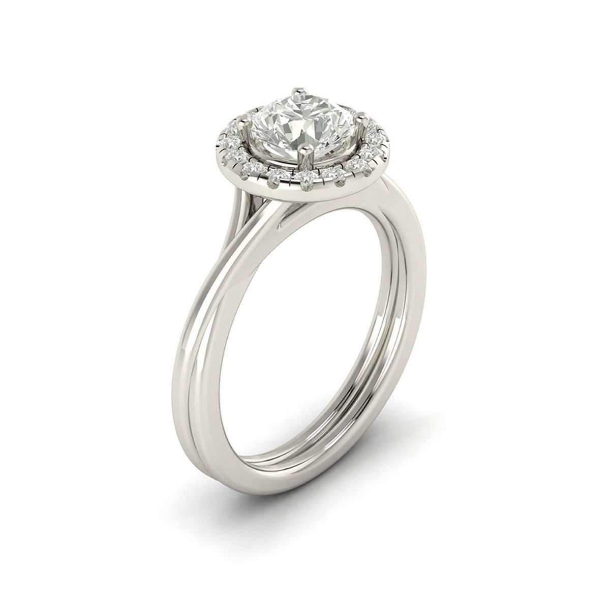 5Ine Jewels Crossover Shank Pave Halo Diamond Engagement Ring in Metallic