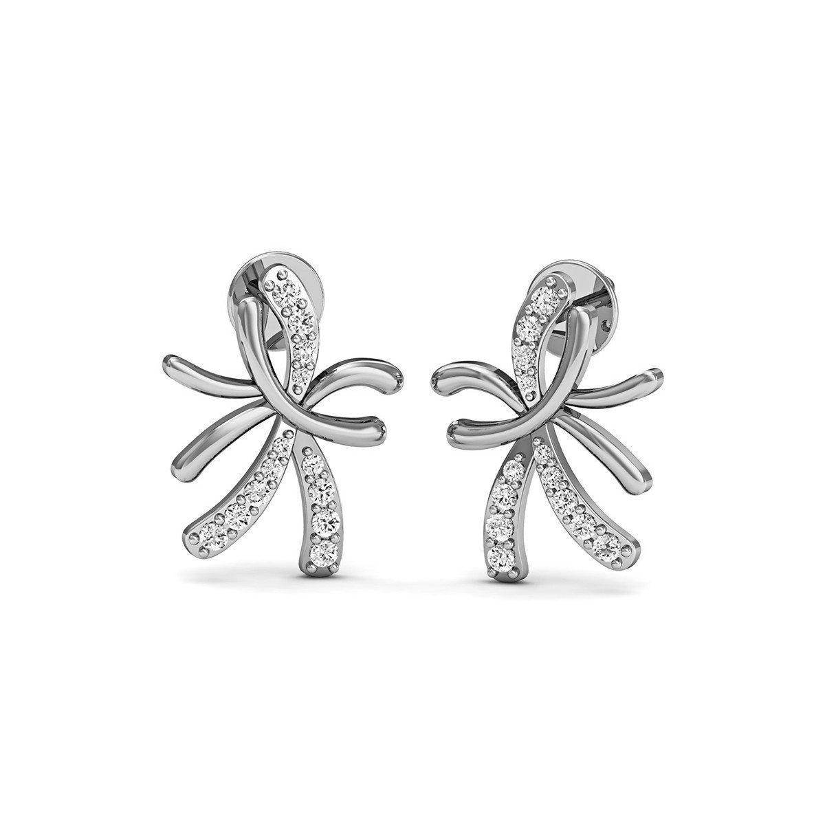 Diamoire Jewels 10kt White Gold and Diamond Floral Pave Earrings 4IaMxLx9