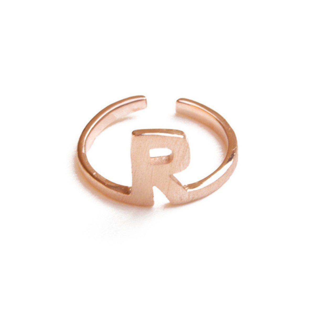 ZLABA Satin Alphabet - R Ring