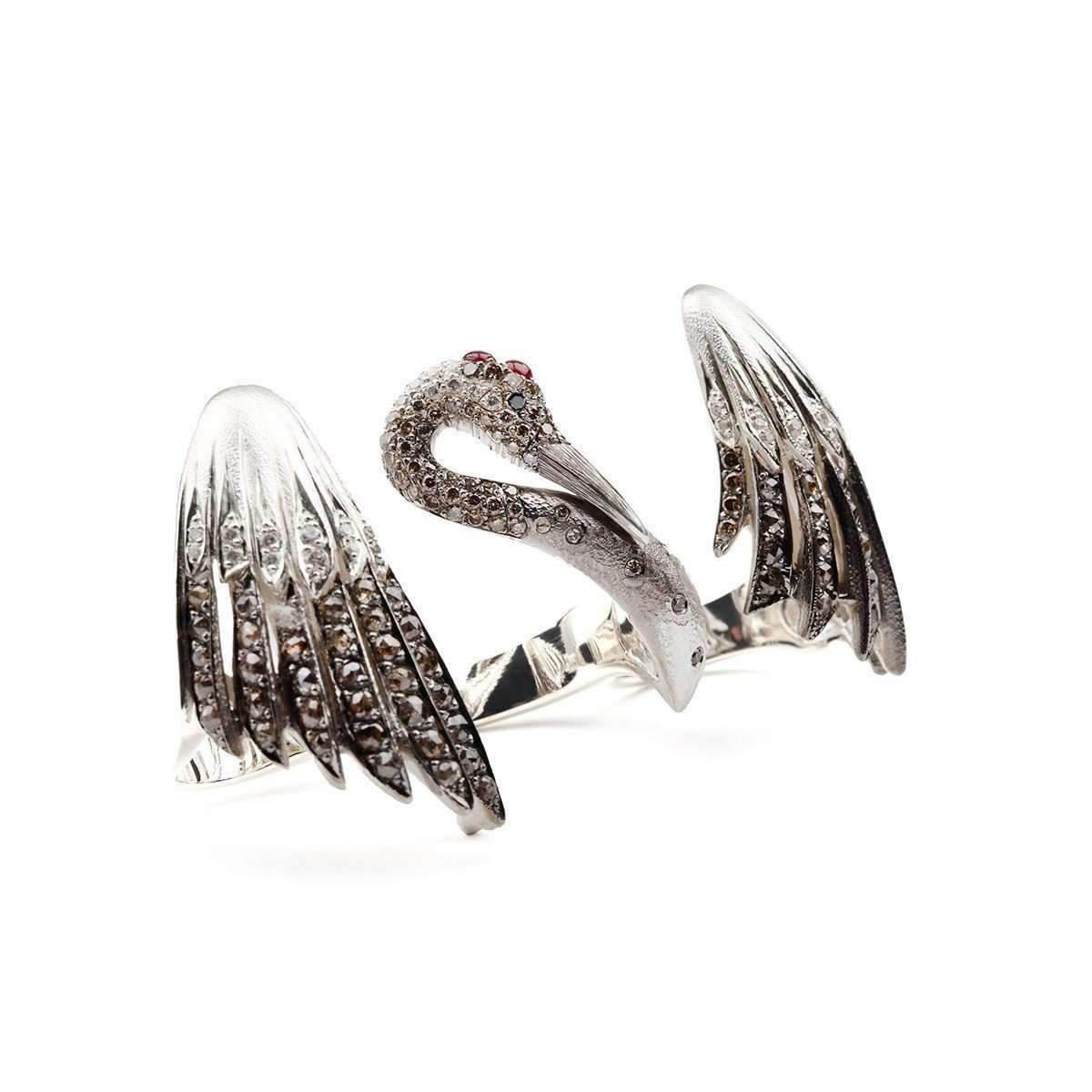 Suciyan Sterling Silver Descending Crane Knuckle Cascade Three Finger Ring in Metallic