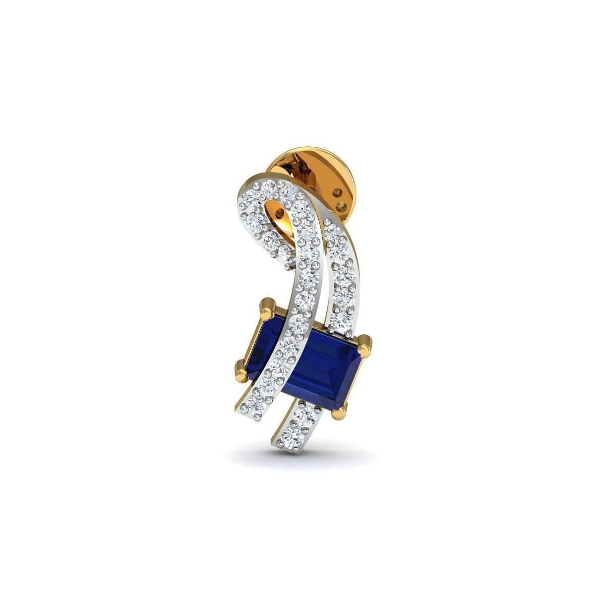 Diamoire Jewels Prong Blue Sapphire and Diamond Studs in 18kt Yellow Gold aQoZaMpk
