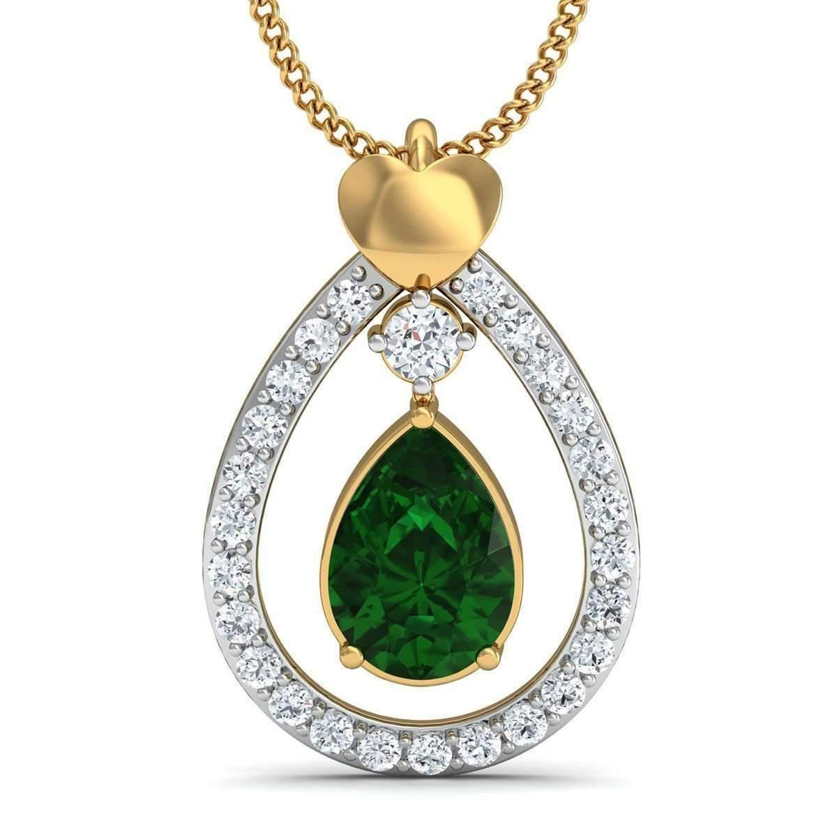 Diamoire Jewels Diamond and South American Emerald Prong Pendant In 14kt Yellow Gold REkhqnqIW