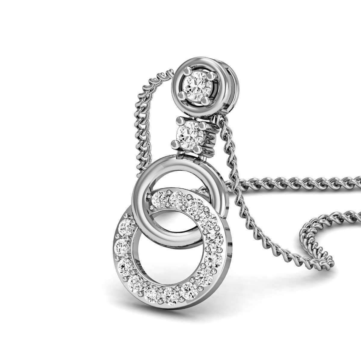 Diamoire Jewels Neatly Carved White Gold and Diamond Pendant Eqzii8B