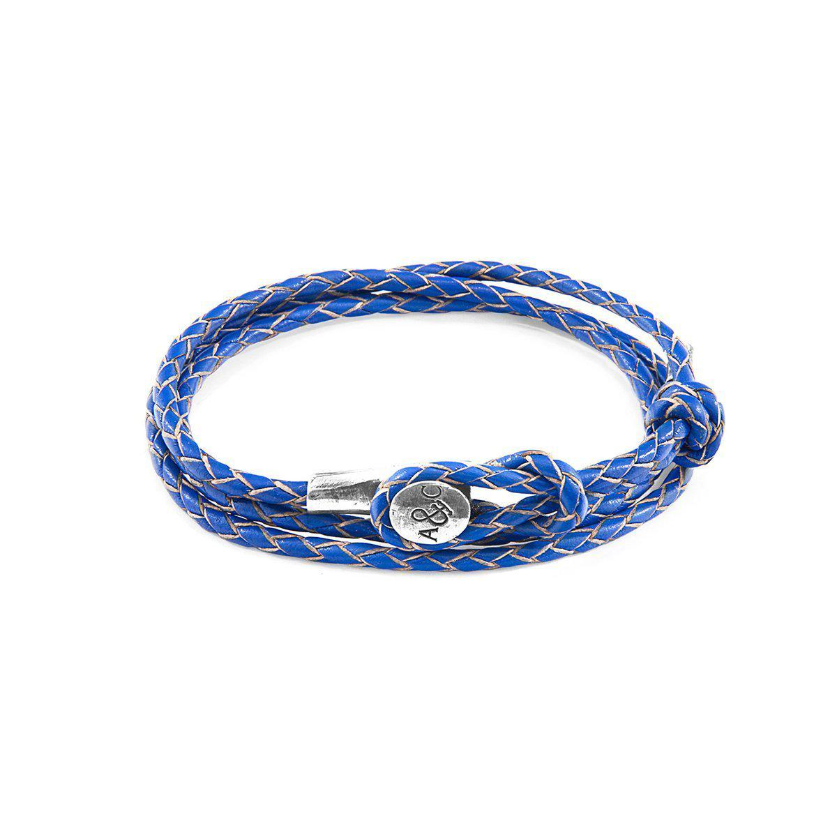 Anchor & Crew Royal Blue Union Silver And Leather Bracelet jBrxD