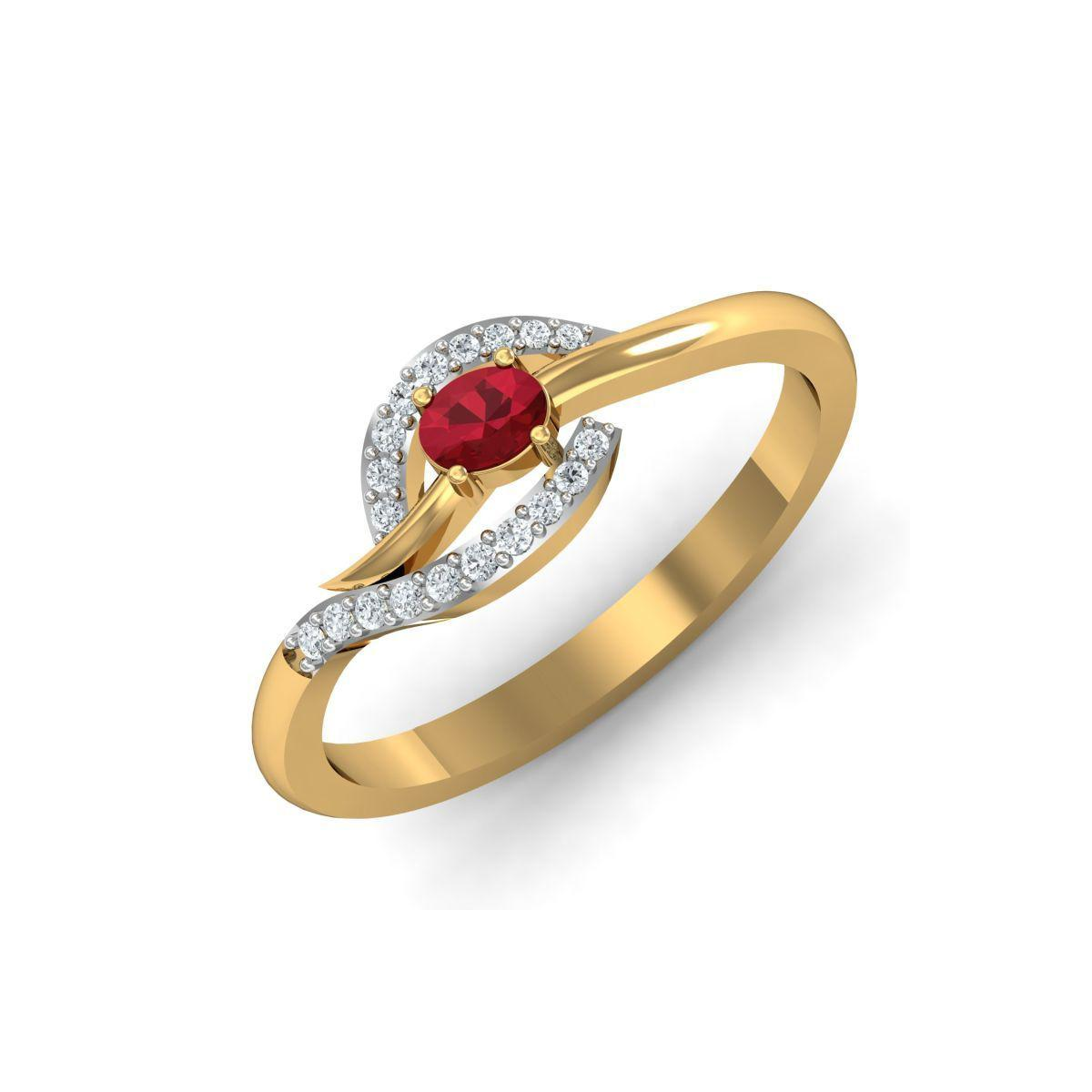 Diamoire Jewels 18kt Yellow Gold Pave 0.17ct Diamond Infinity Ring With Ruby - UK G 1/4 - US 3 1/2 - EU 45 3/4 3rhlmlmU