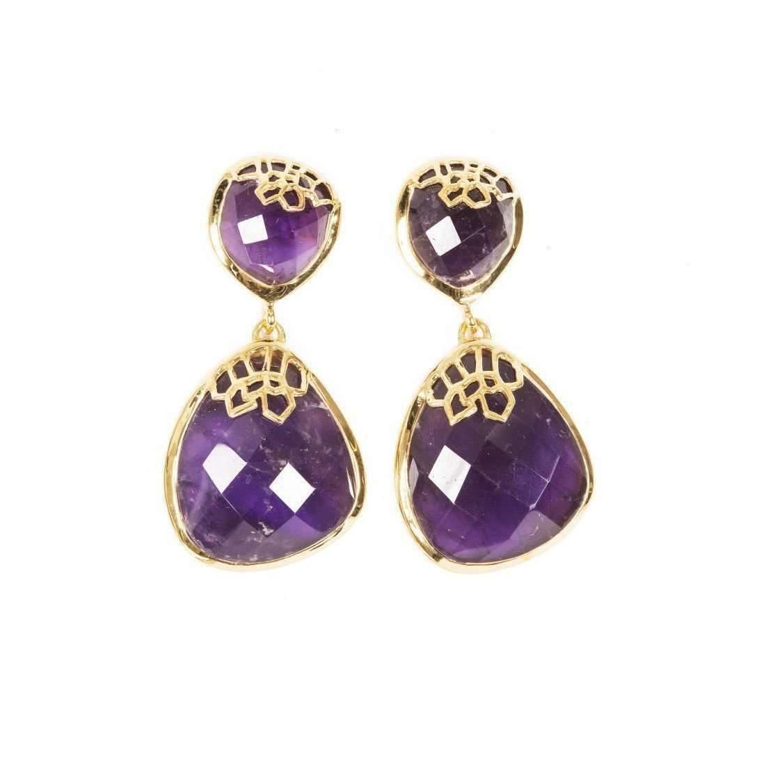 Neola Honeycomb Gold Drop Earrings rmmVPGgz8R