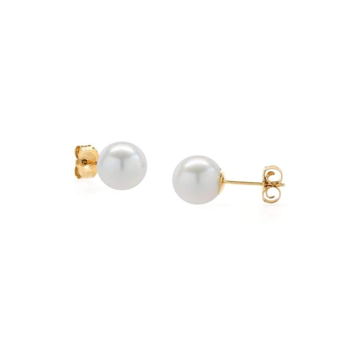 AAA Quality ISAAC WESTMAN 14K Gold White Japanese Akoya Cultured Pearl Earrings