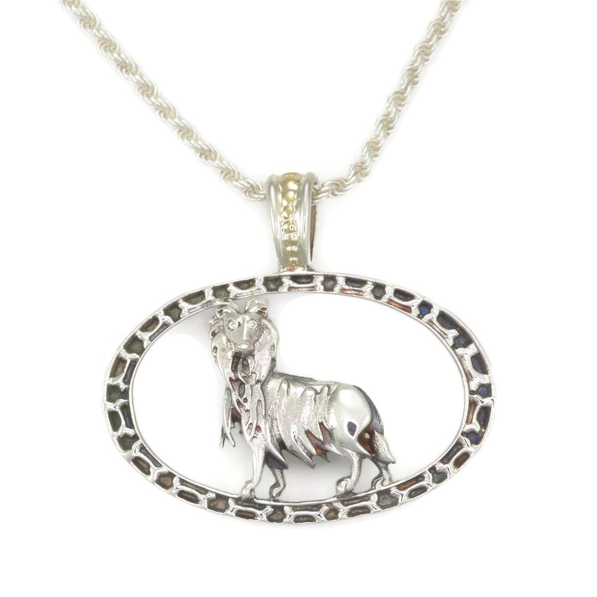 Donna Pizarro Designs Sterling Silver Giant Schnauzer Necklace With 14kt Accent IF65P
