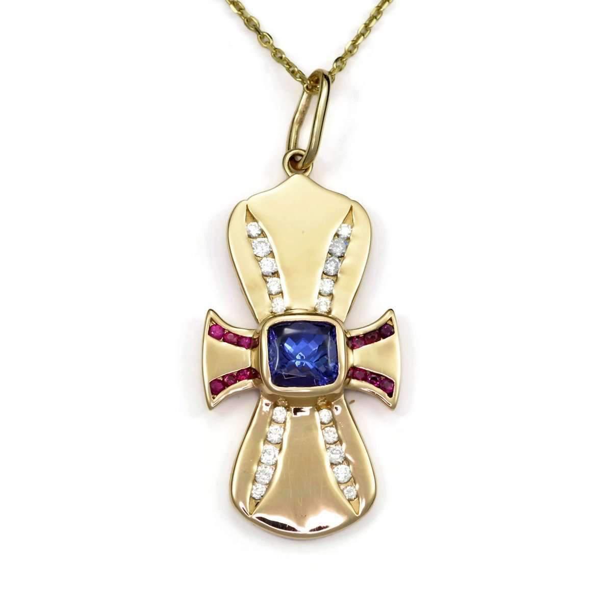Donna Pizarro Designs 14kt Tanzanite, Ruby And Diamond Cross