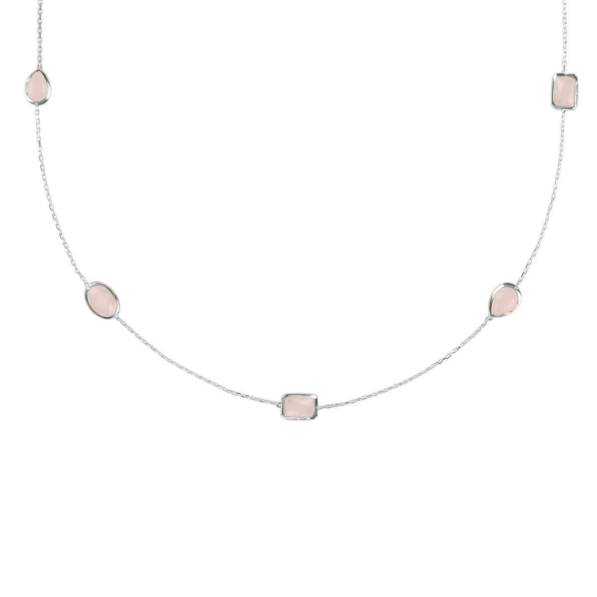 Latelita London Venice Long Chain Necklace Silver Rose Quartz 2dTzmJej