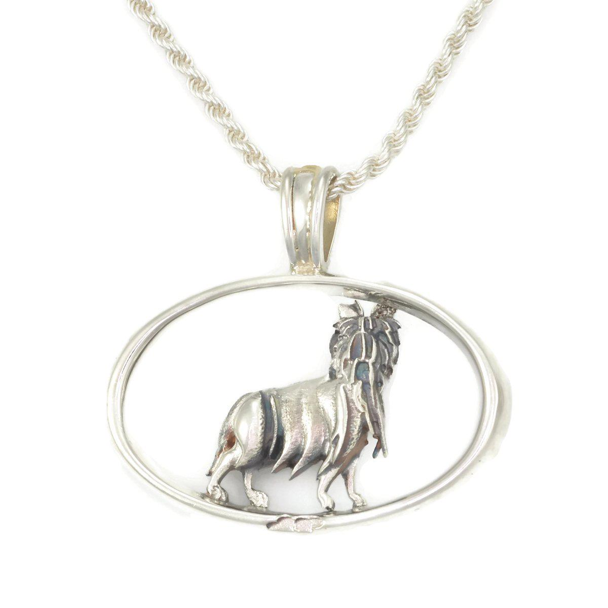Donna Pizarro Designs Sterling Silver Sheltie Necklace With 14kt Accent EmJCRxB0D3