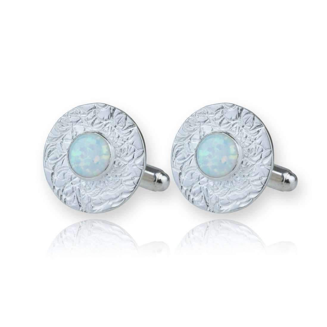 Lavan Sterling Silver Hand Etched Cufflinks With White Opals T3au2