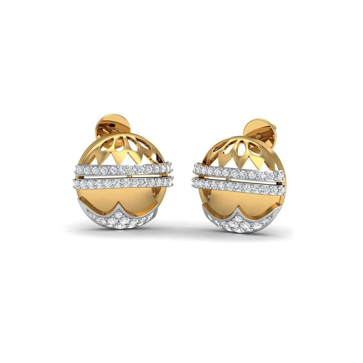 Diamoire Jewels SI3 Diamonds and 18kt Yellow Gold Pave Earrings 8Y2qQoJ2i