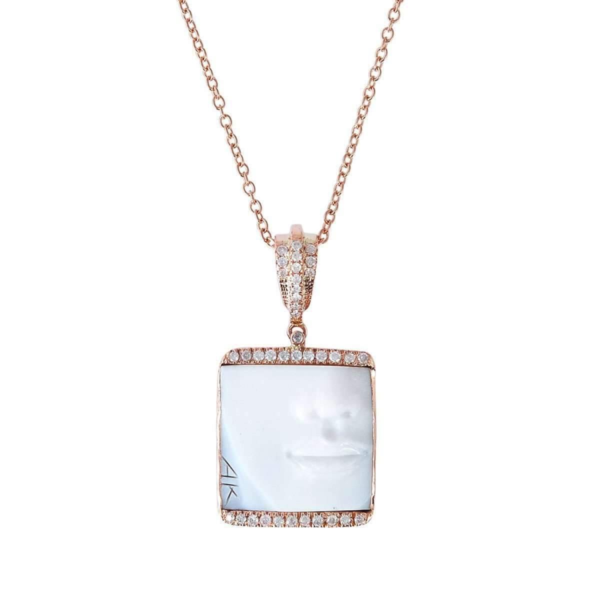 Socheec In Love Face Shell Cameo Diamond Necklace NihD2F2h