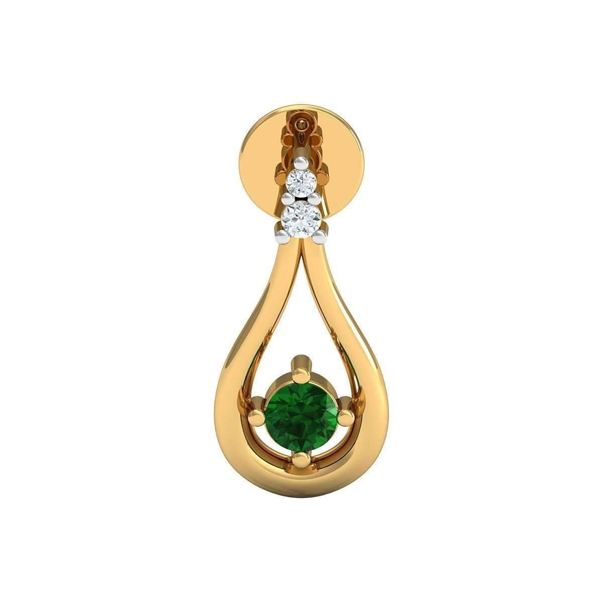 Diamoire Jewels Nature Inspired SI3 Diamond and Emerald Prong Earrings 14kt Yellow Gold 2L6Hs6sP