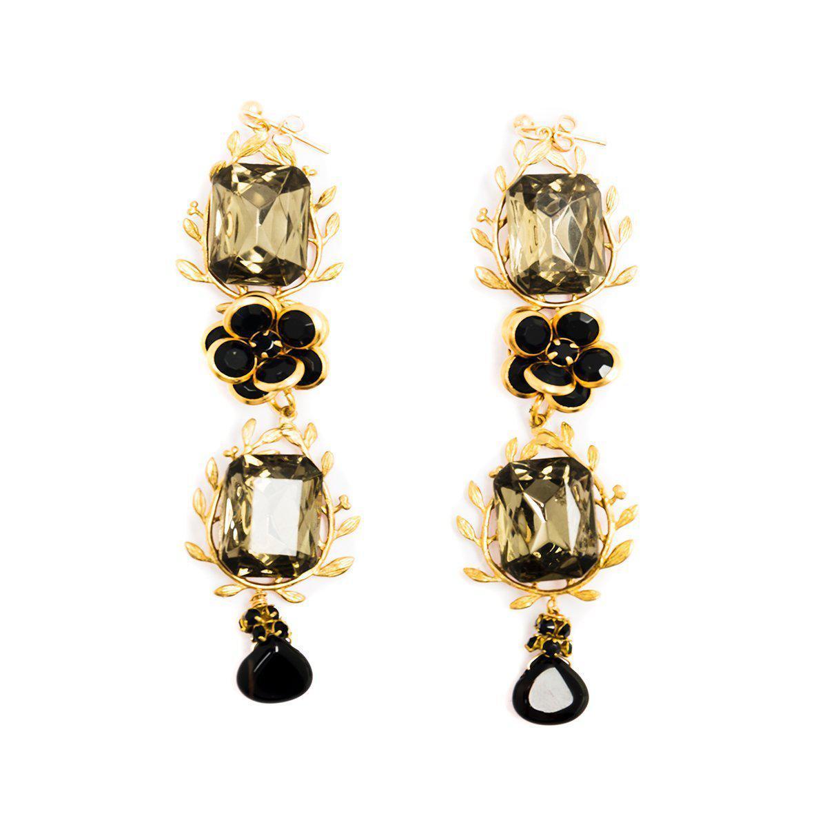 3c3d3bd4670f8 Women's Metallic Brass & Glass Camellia Japonica Earrings