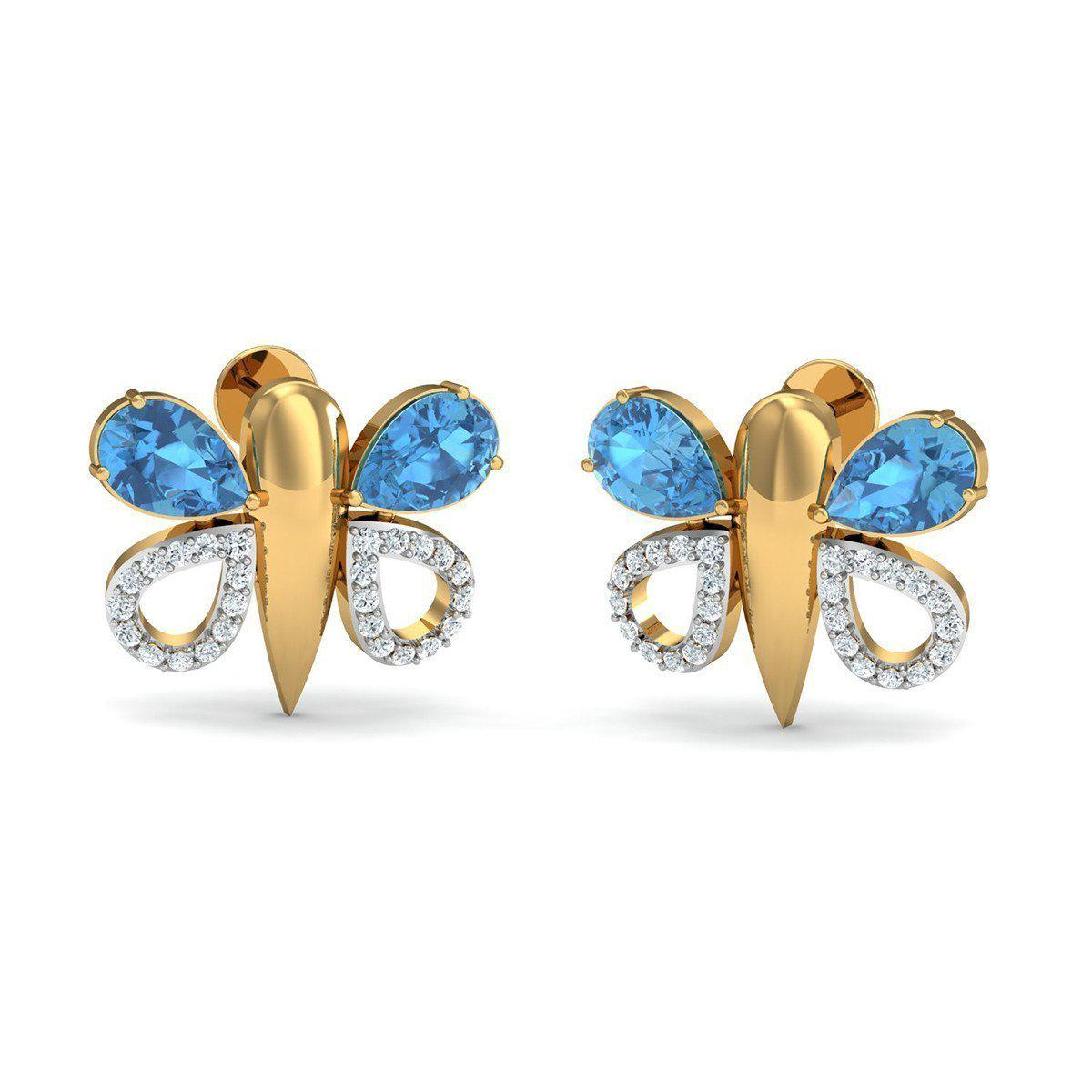 Diamoire Jewels Oval Cut Natural Aquamarine and Diamond Earrings in 10kt Yellow Gold wJSLArov