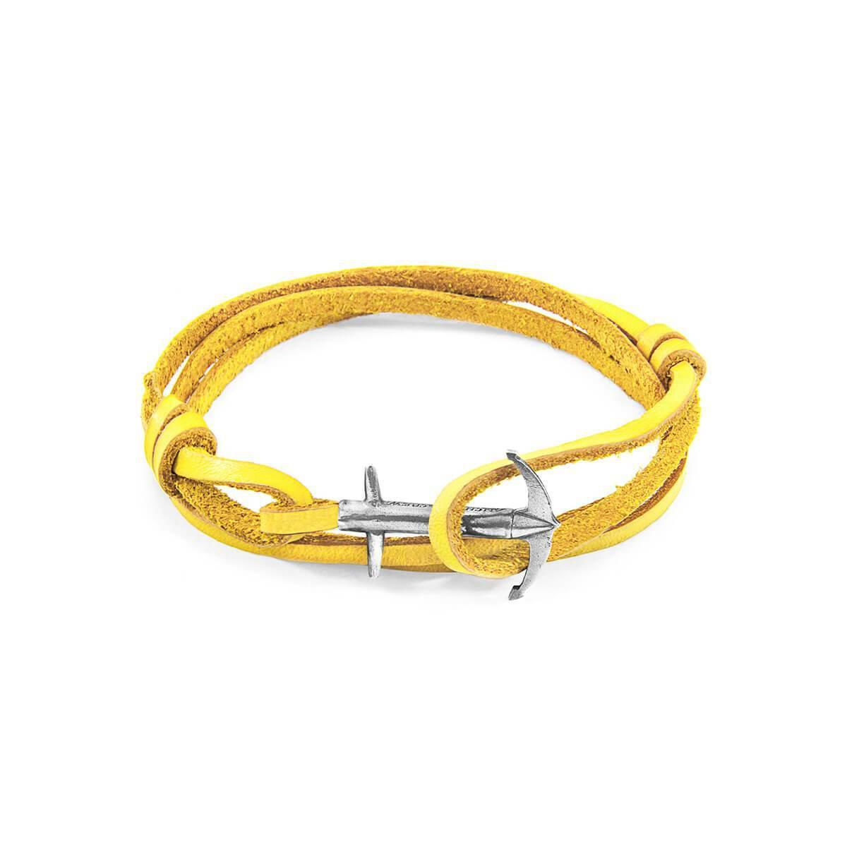 Anchor & Crew Mustard Yellow Admiral Silver And Leather Bracelet 0HucSiAHlD