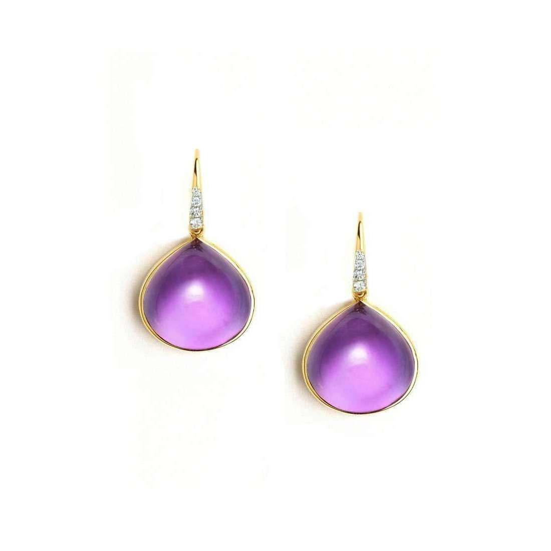 Syna 18kt Amethyst Earrings With Champagne Diamonds Fn2U09I