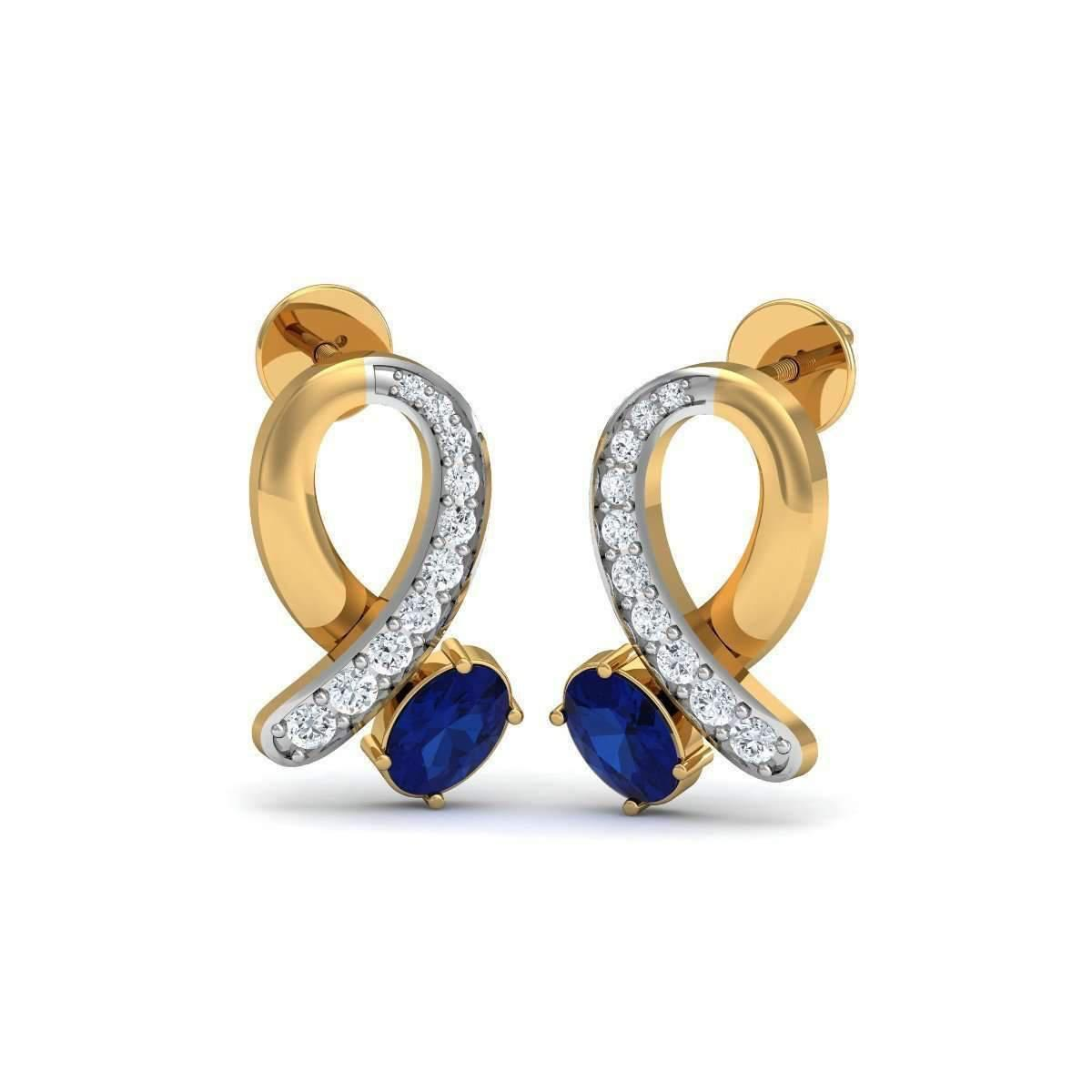 Diamoire Jewels Oval Sapphire and Diamond Ribbon Earrings in 18kt Gold faQYbjAp