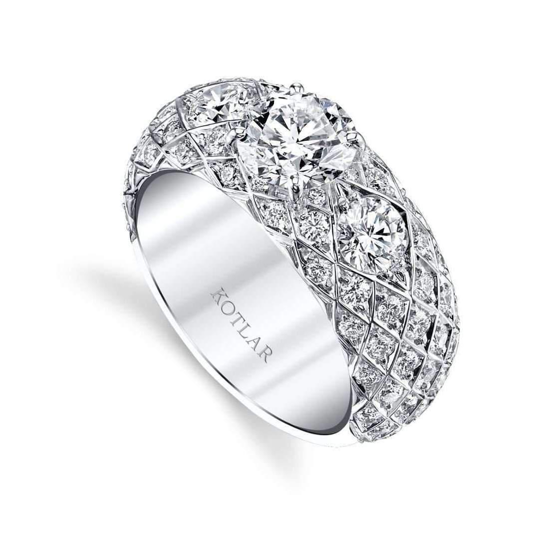 Harry Kotlar Princess Cut Criss Cross Artisan Pave Ring - UK M - US 6 - EU 52 3/4 bP2KQf