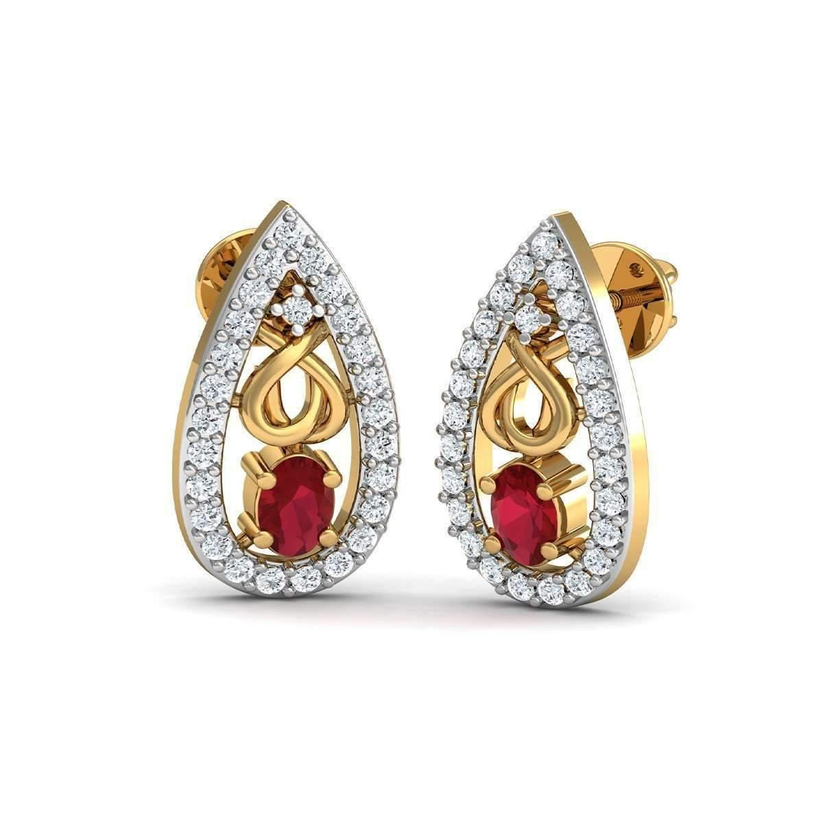 Diamoire Jewels African Oval Cut Ruby and Diamond Earrings Hand-carved in 18kt Yellow Gold LBzAh