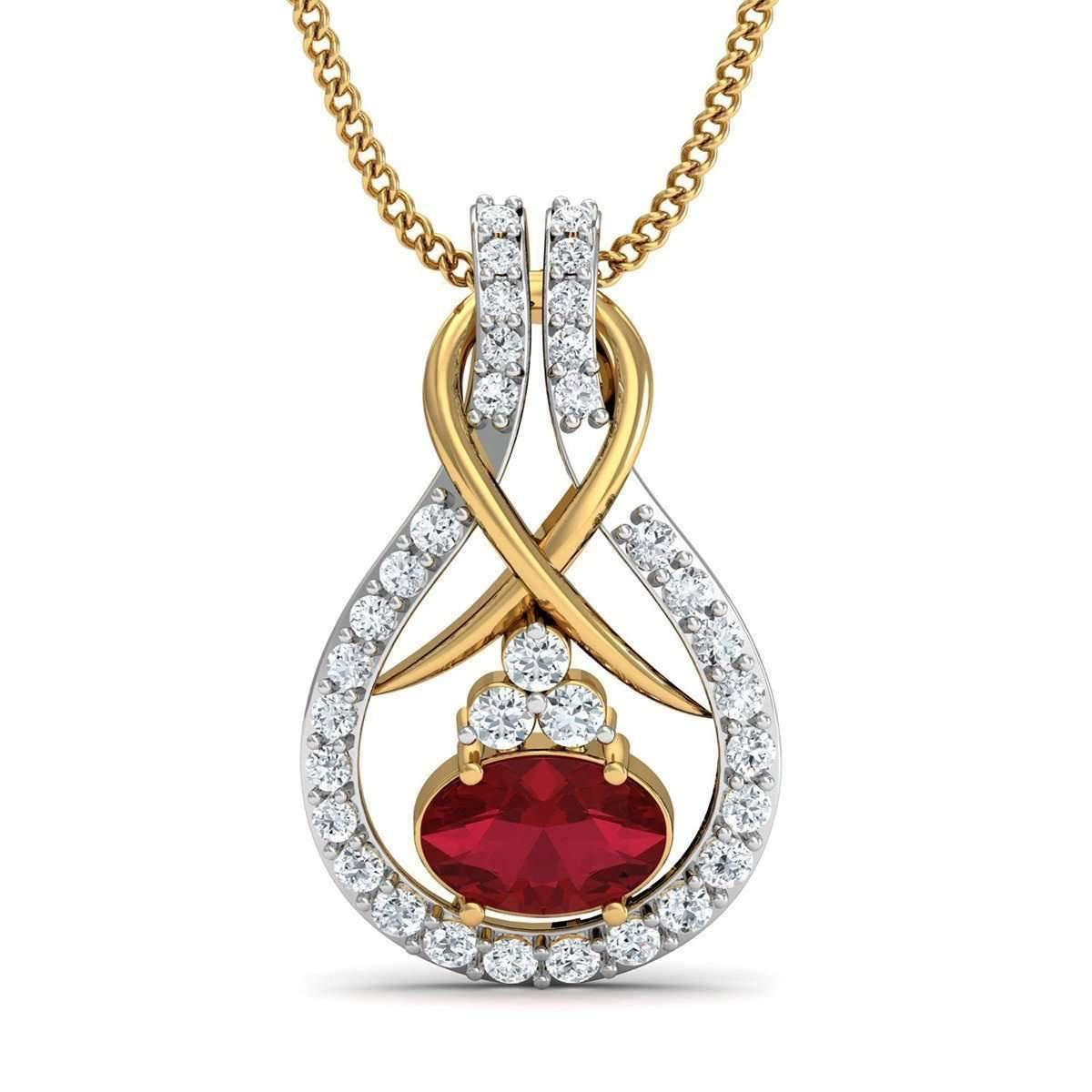 Diamoire Jewels Nature Inspired Sapphire and Diamond Pendant in 10kt Yellow Gold OdX1s