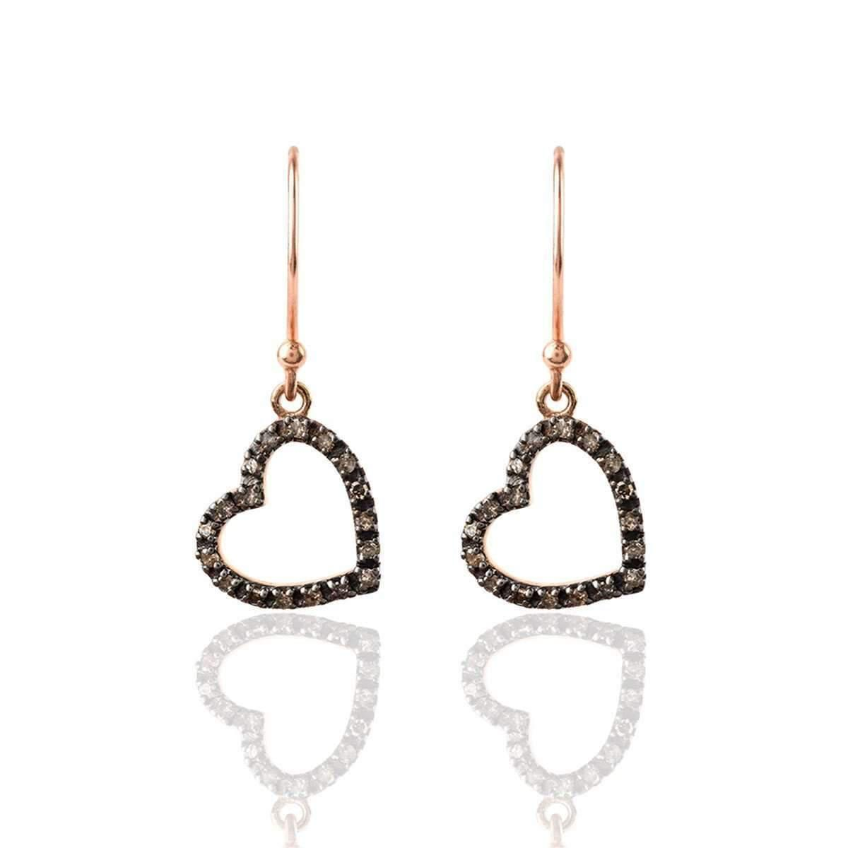 Latelita London Diamond Large Open Heart Earring Rose gold HvxC1