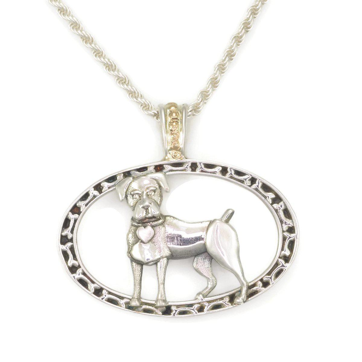 Donna Pizarro Designs Sterling Silver Great Dane Necklace With 14kt Accent qkhlojTxQN