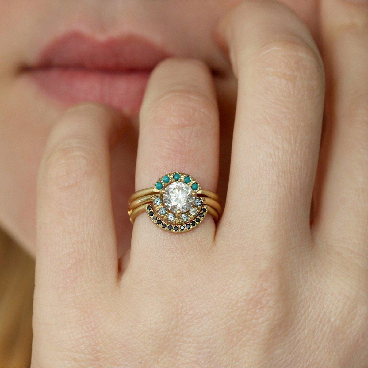 ARTEMER Boho Wedding Ring Set With Diamond Sapphire And Turquoise