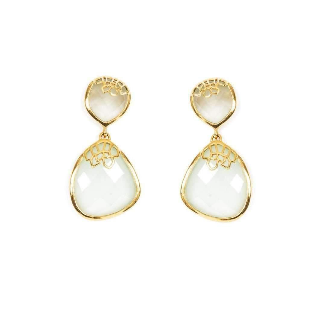 Neola Honeycomb Gold Drop Earrings