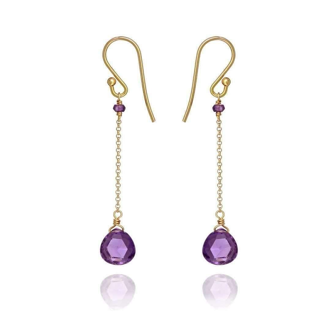 Perle de lune Drop Earrings With Amethyst Amethyst 18kt Gold RRfLwUd9l