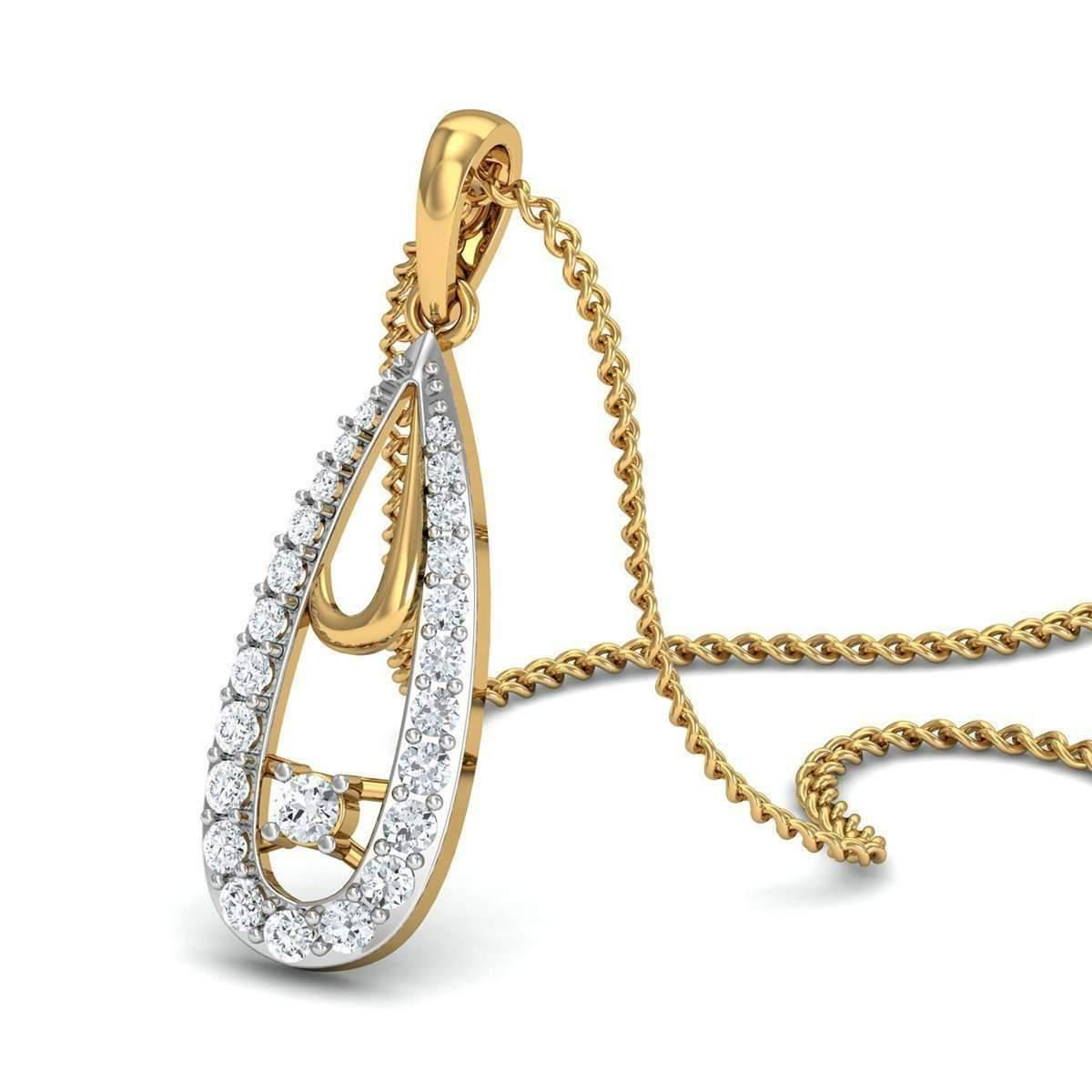 Diamoire Jewels Pave 10kt Yellow Gold and Diamond Nature Inspired Water-drop Pendant 7LFTS