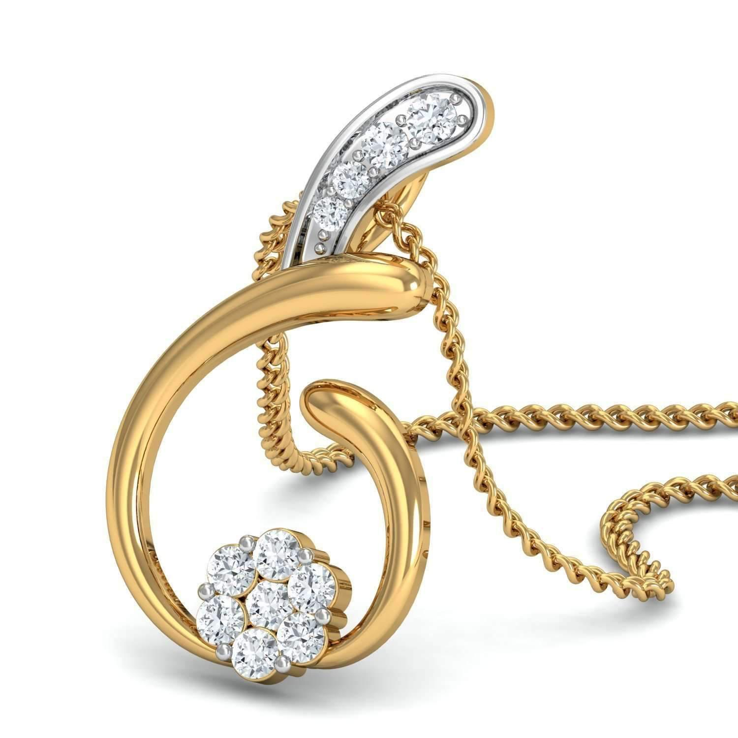 Diamoire Jewels Hand-carved 14kt Yellow Gold Nature Inspired Diamond Pave Pendant ioBlhO