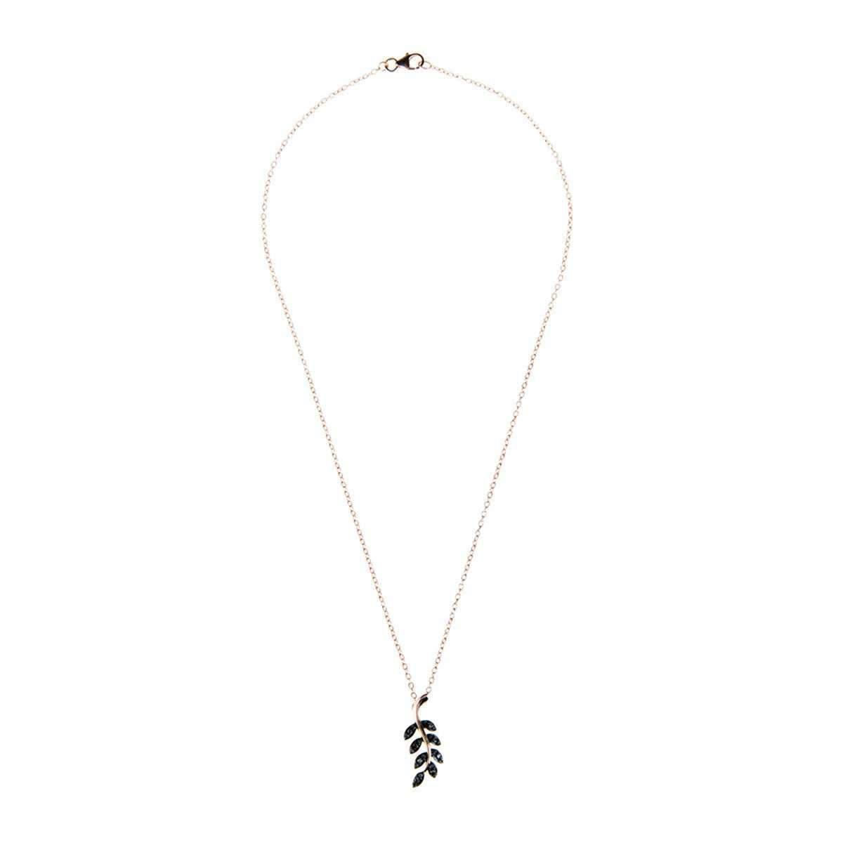 Latelita London Diamond Leaf Necklace Rose gold iKJW94