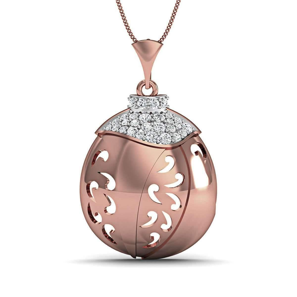 Diamoire Jewels 18kt Rose Gold Nature Inspired Round Cut Diamond Pave Pendant pLrs6