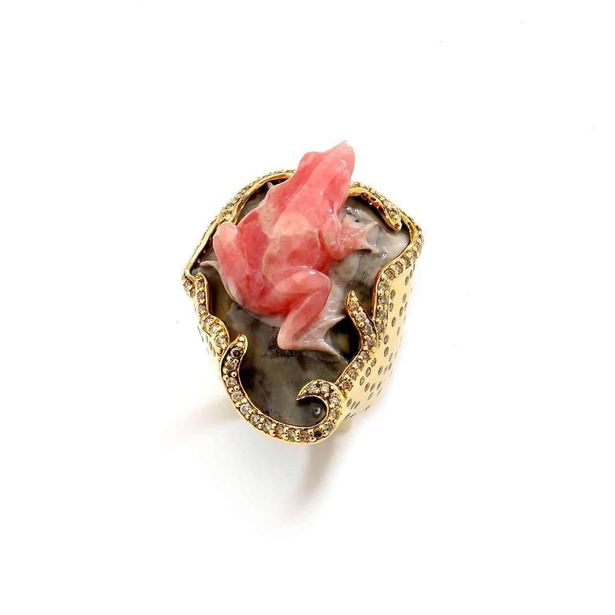 Syna 18kt Rhodocrosite Frog Ring With Champagne Diamonds - UK N - US 6 1/2 - EU 54 gEOjt