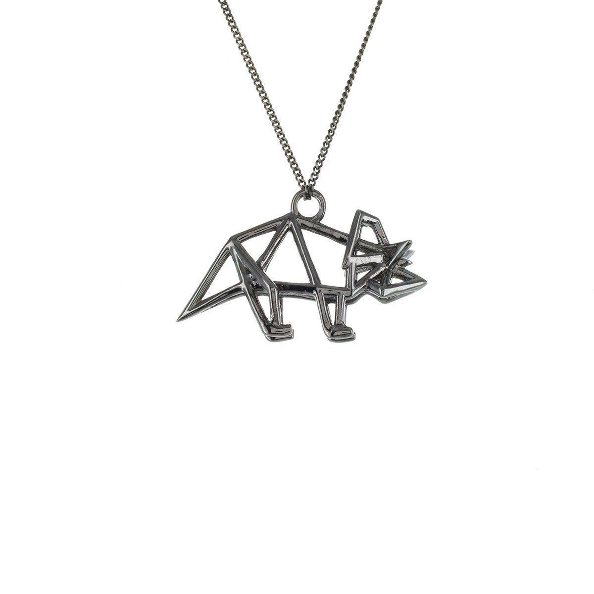 Origami Jewellery Black Silver Mini Triceratop Origami Necklace Ssigudbf