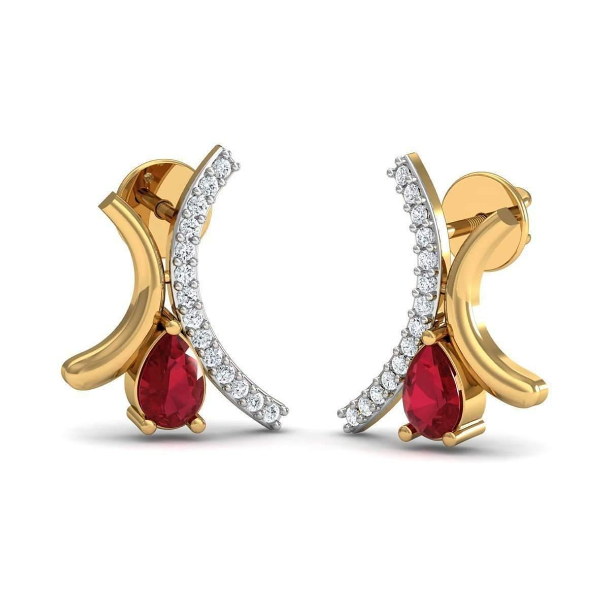 Diamoire Jewels Pave Set Diamond and Pear Cut Ruby Pendant in 10kt Yellow Gold xqovNA38