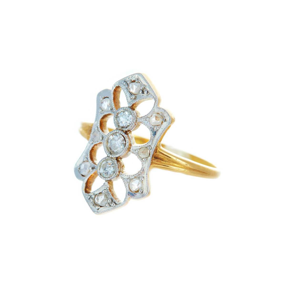 Alexis Danielle Jewelry Antique Art Deco Diamond And Platinum 18kt Yellow Gold Ring in Metallic