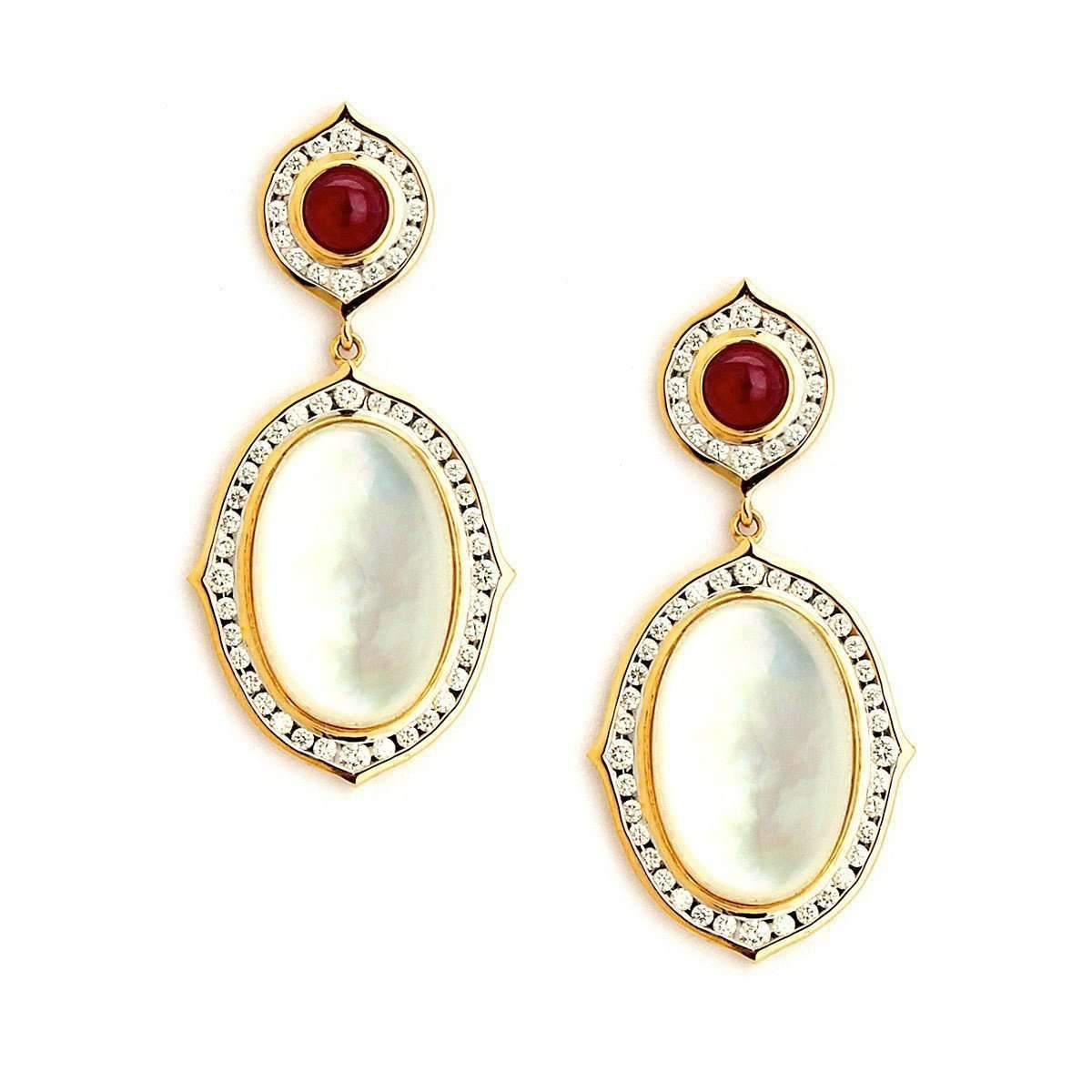 Syna 18kt Moon Quartz & Emerald Earrings With Diamonds c1RpSMu7k