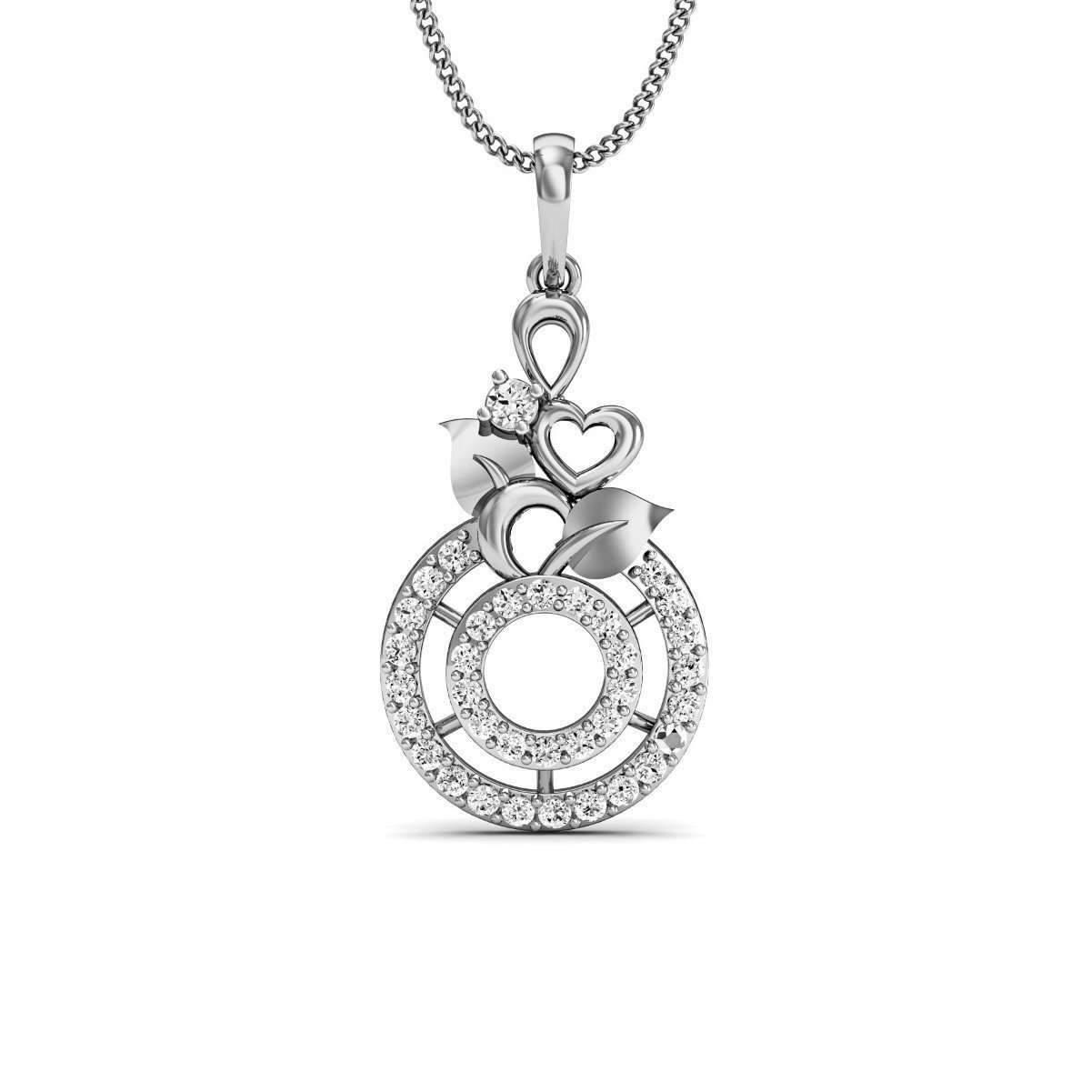 Diamoire Jewels Flowered Diamond Pave Pendant in 18kt White Gold nCE4DD