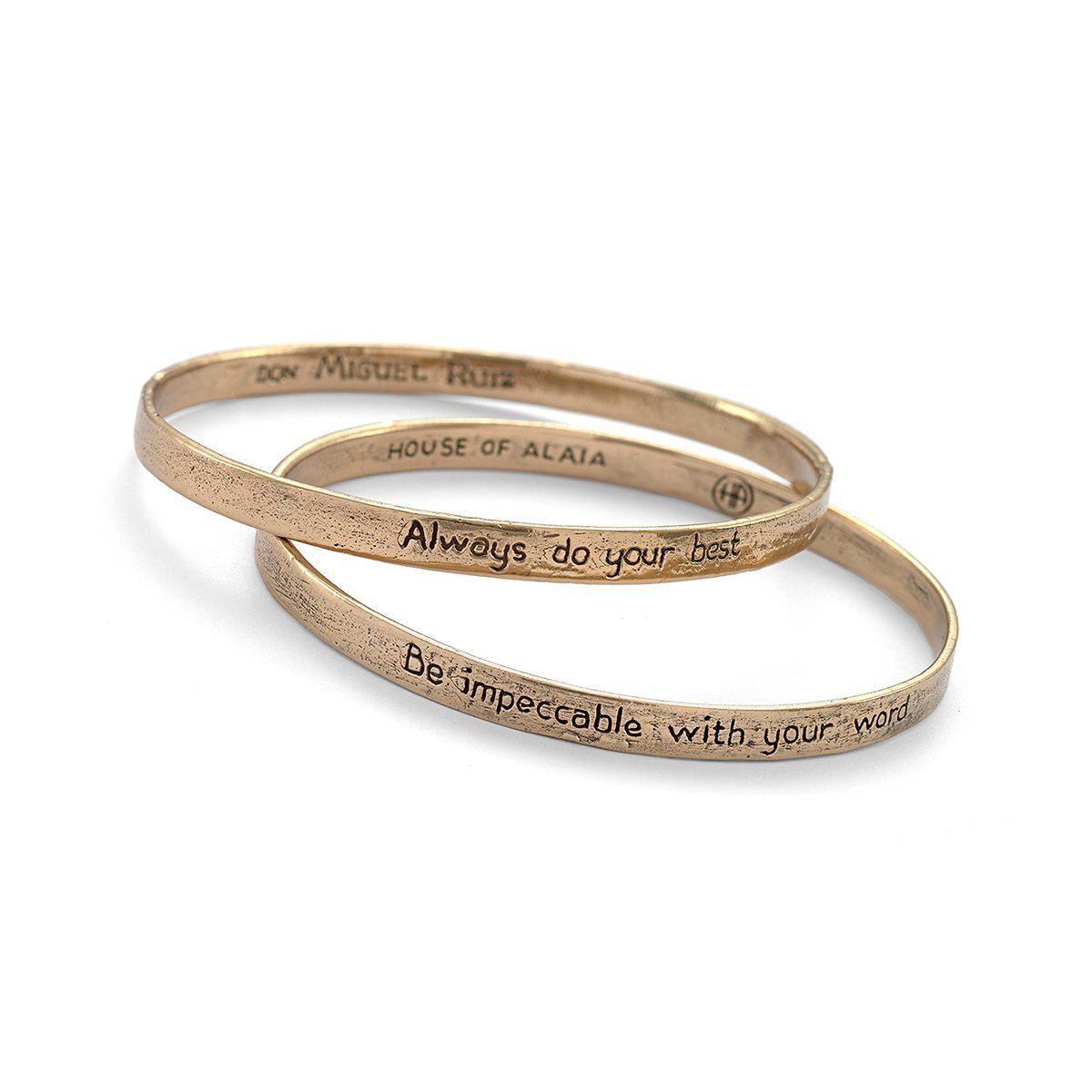 House of Alaia Four Agreements Reminder Bangle In Bronze Small ij75hp