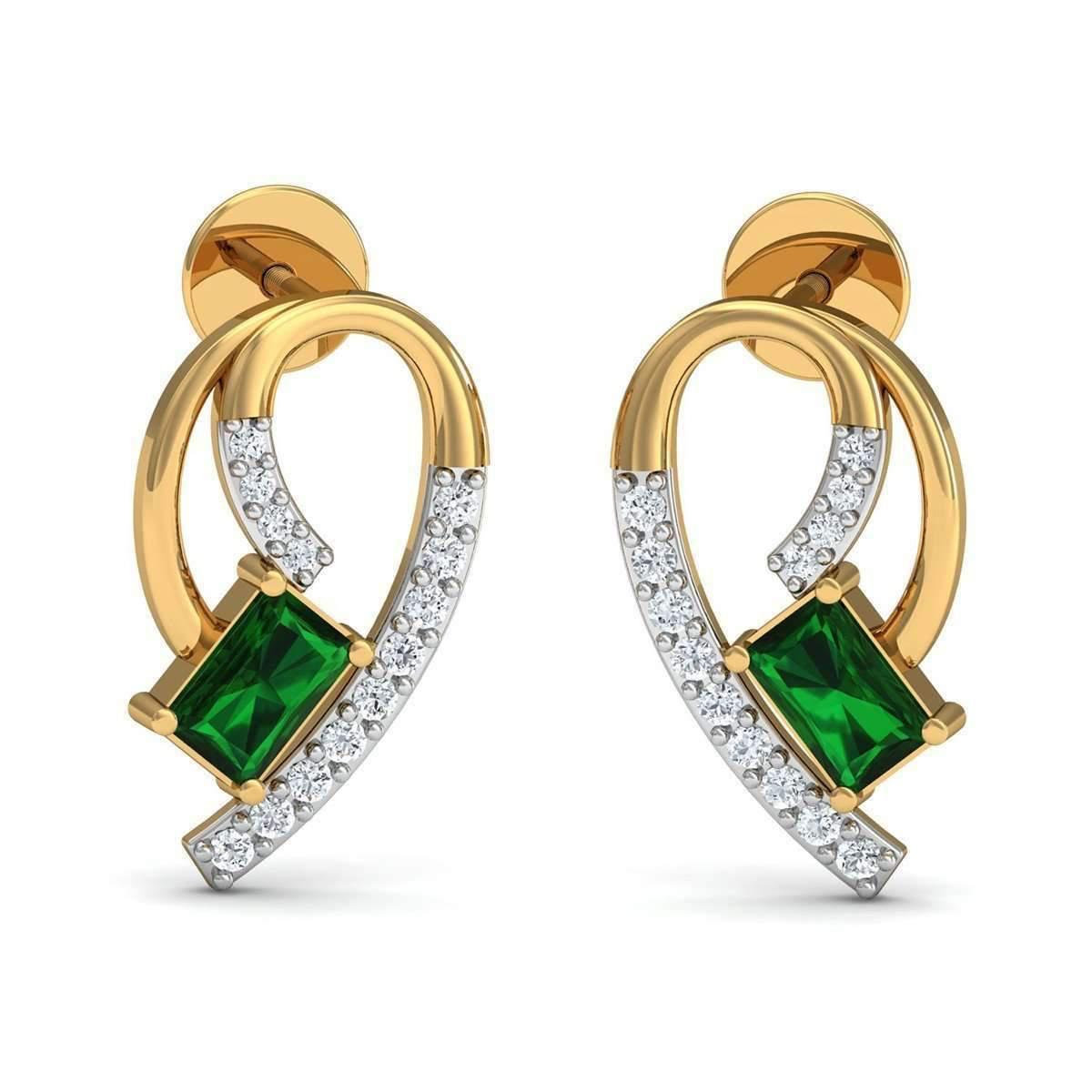 Diamoire Jewels Women S Metallic Nature Inspired Ruby And Premium Quality Diamond Earrings