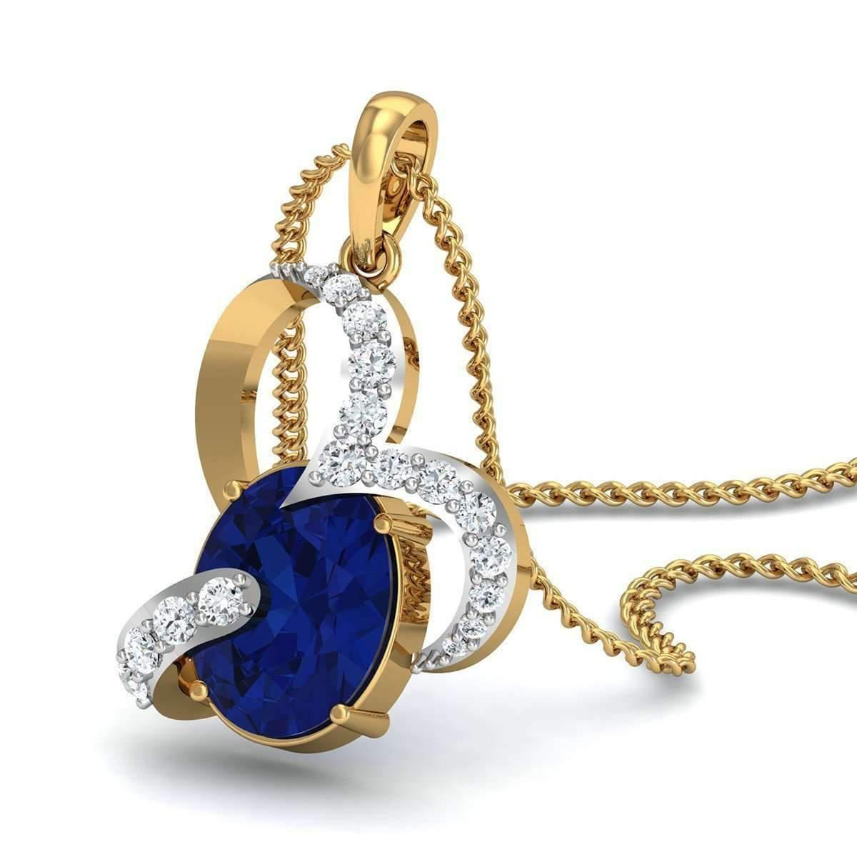 Diamoire Jewels Oval Shape Sapphire and Diamond Pendant in 10kt Yellow Gold 2dlrI4DUE