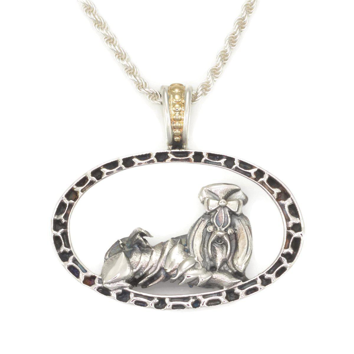 Donna Pizarro Designs Sterling Boy Pug Necklace With 14kt Accent GpZE3CN