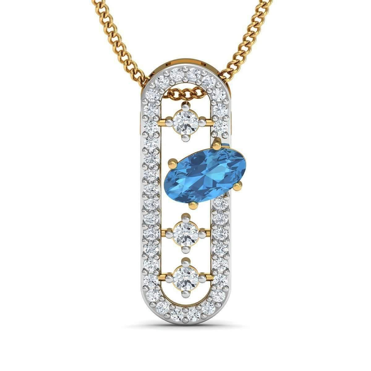 Diamoire Jewels Nature Inspired Diamond and Blue Sapphire Pendant in 14kt Yellow Gold EWROAt2